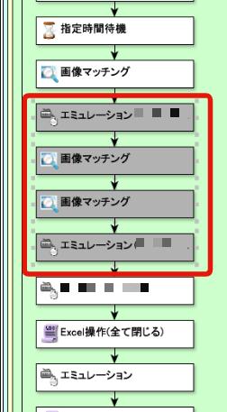 エミュレーションと画像マッチングでシナリオに落としていく。
